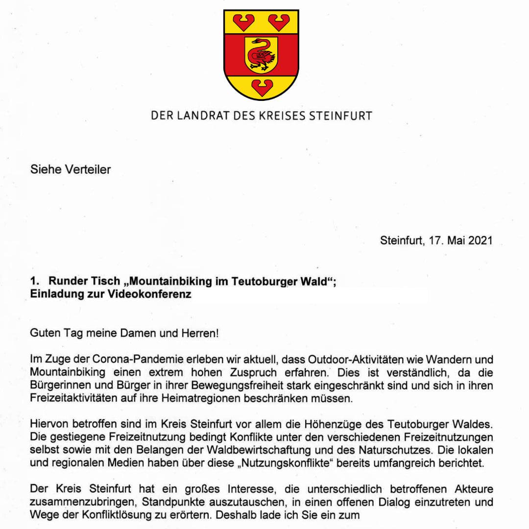 Einladung zum Runden Tisch: Mountainbiking im Teutoburger Wald