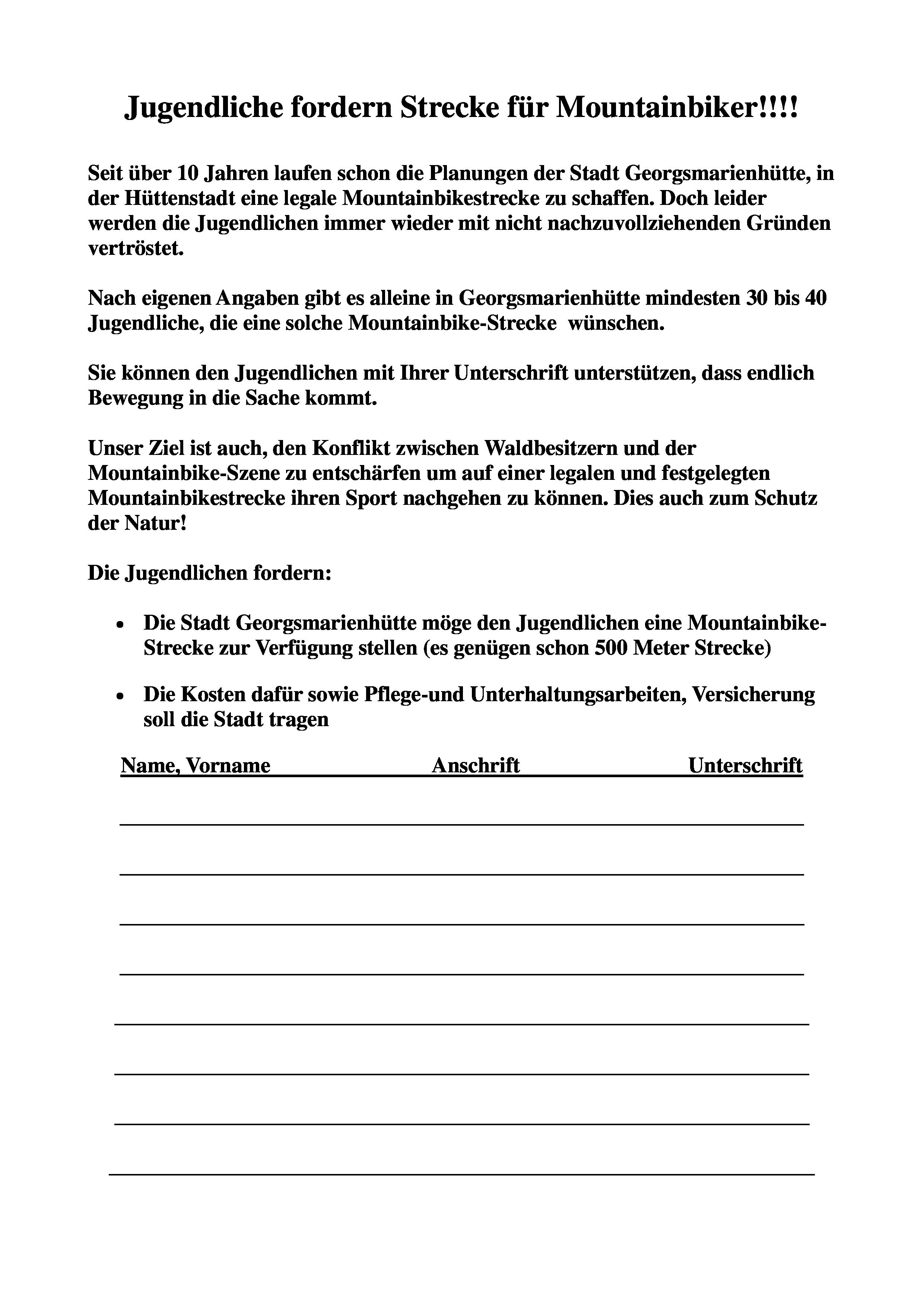 Unterschriftenliste Georgsmarienhütte